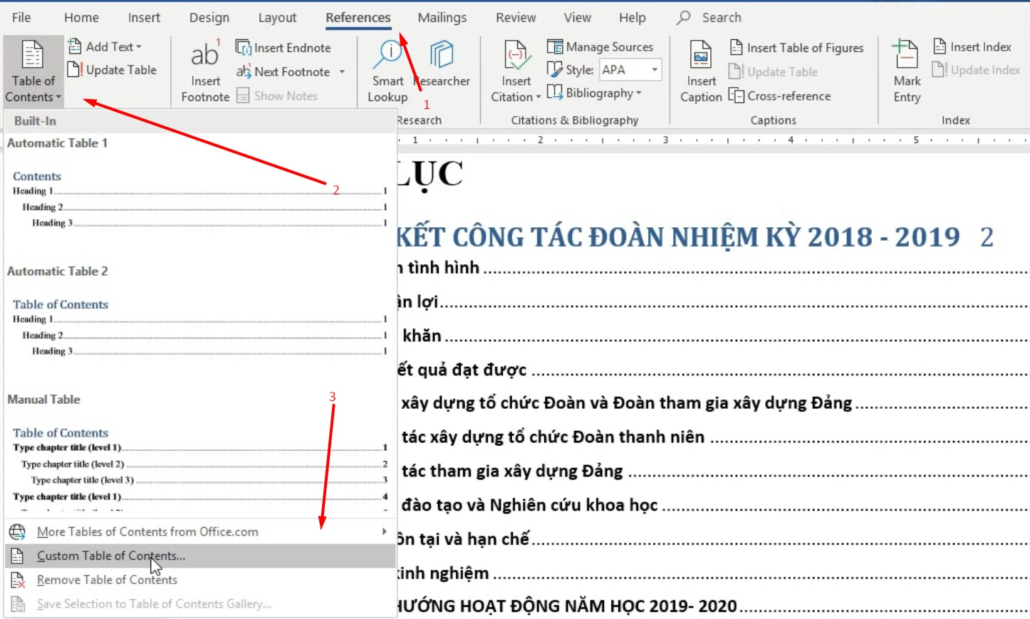 tạo mục lục tự động trong Word Office 365