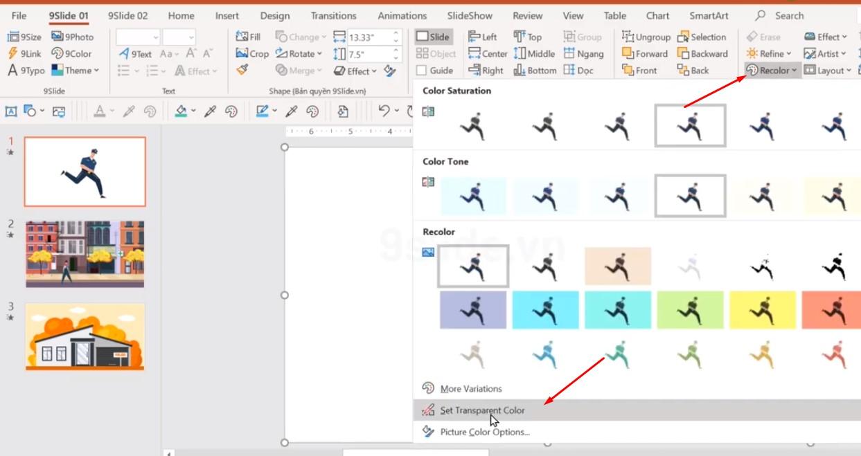 Khi bỏ ảnh động powerpoint vào thì sẽ có màu nền là màu trắng, nhưng Powerpoint sẽ giúp cho chúng ta loại bỏ được nền đó.