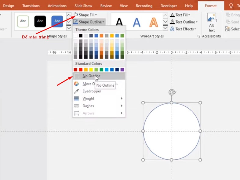 Chọn vào Format, chọn Shape Fill đổ màu trắng, trong phần Shape Outline thì bạn chọn No Outline
