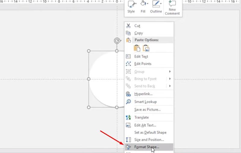 Click chuột vào chọn Format Shape.