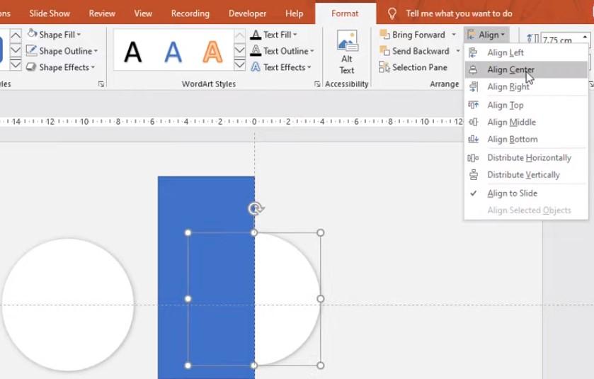 Bạn tạo một hình khối như hình dưới và bạn Click vào hình tròn và căn giữa nha.