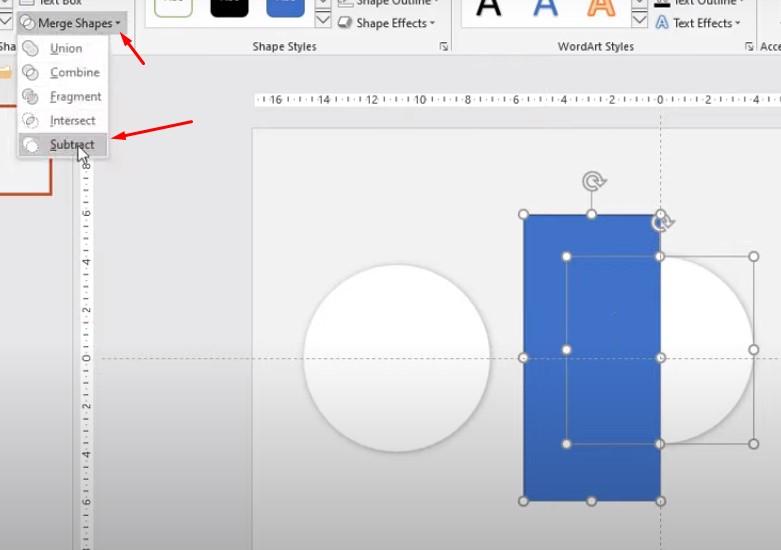 Click chọn vào hình tròn để cắt hình tròn. Chọn Merge Shapes chọn Subtract.