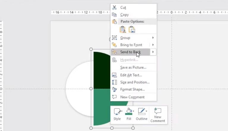 Chọn Shift để kéo to hình ra, và kèo vào hình tròn Click chuột phải chọn Send to Back.