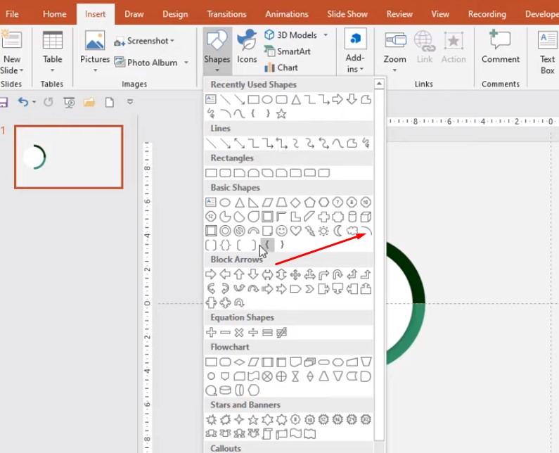 Bạn chọn vào Insert để chọn Đường kẻ cong, khi chọn xong bạn giữ Shift để vẽ đường cong.