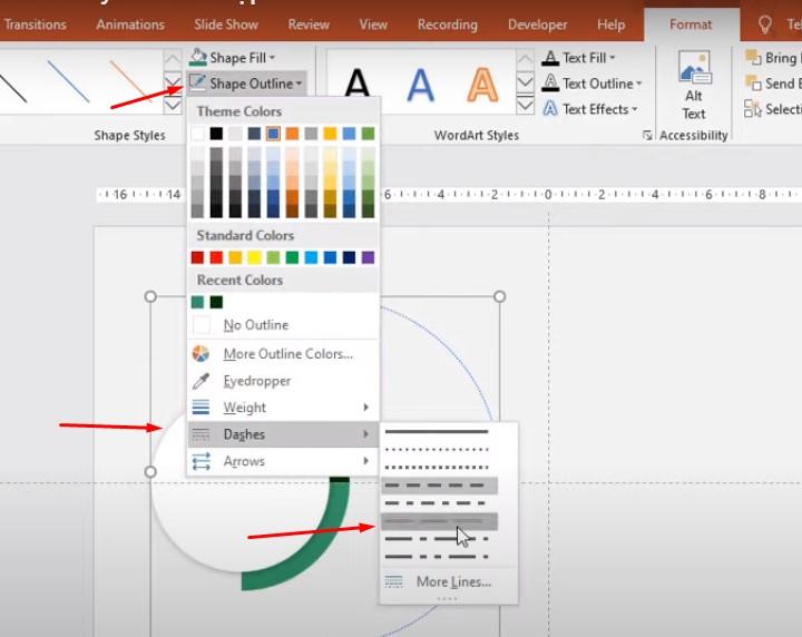 Vào Format chọn Shape Outline chọn Dashes chọn đường viền và tô màu đen như mình nhé.