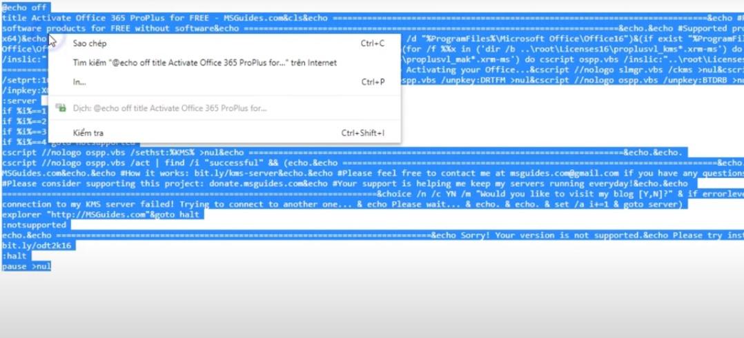 Khi tải xong bạn vào Active, bạn bấm vào Tại đây, khi bạn bấm vào bạn Copy hết những văn bản trong bảng