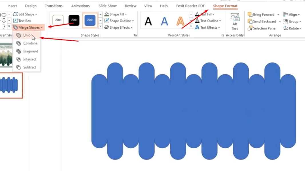 Chọn Shape Format và chọn Merge Shapes trỏ xuống chọn Union.