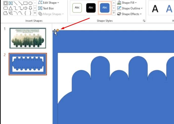 Khi vẽ xong khung cho hình bạn click vào hình và chọn vào chấm màu vàng để chỉnh kích cỡ hình.