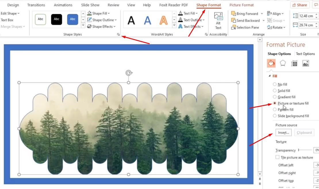 Chọn Shape Format và chọn vào hình vuông nhỏ như dưới, và chọn Picture or texture fill, Bạn chọn Insert để chọn ảnh.