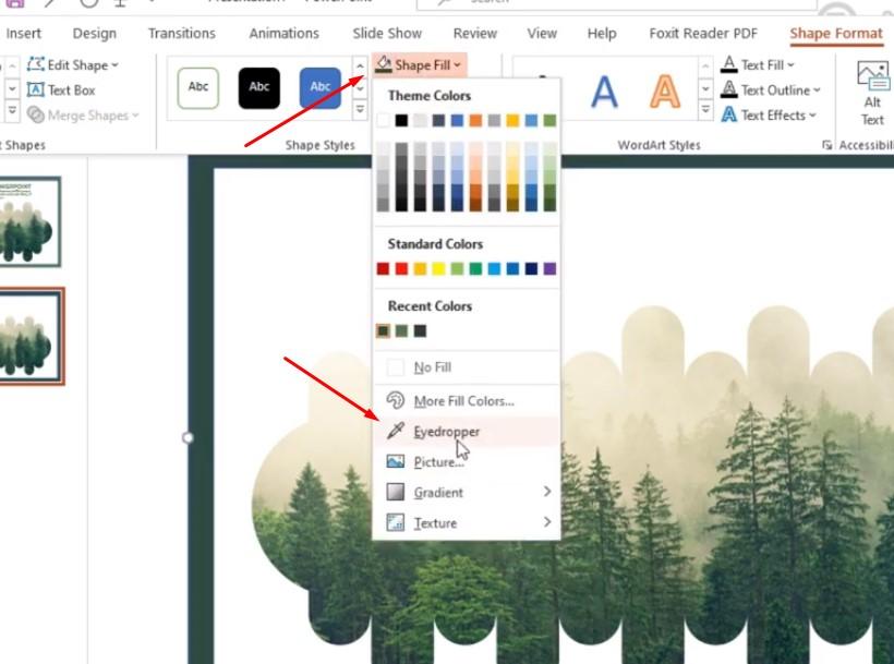 Tô màu khung bạn chọn Shape Fill và chọn Eyedropper, khi chọn Eyedropper với công cụ này, bạn có thể lấy màu giống như ảnh.