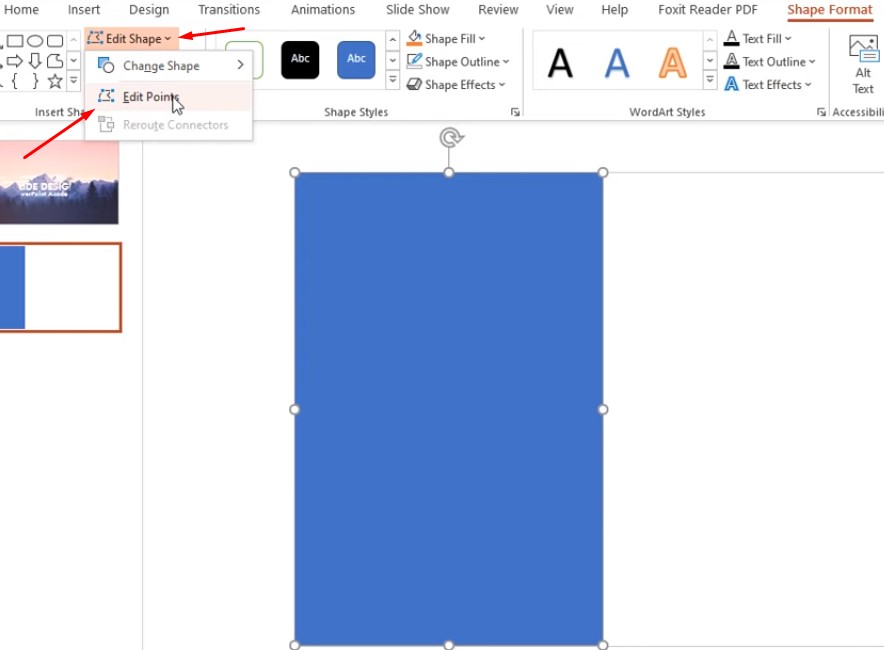 Chọn Edit Shape và chọn Edit Points.