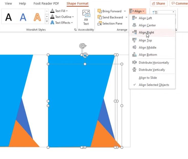 Chọn Shape Format vào phần Align chọn Align Right.