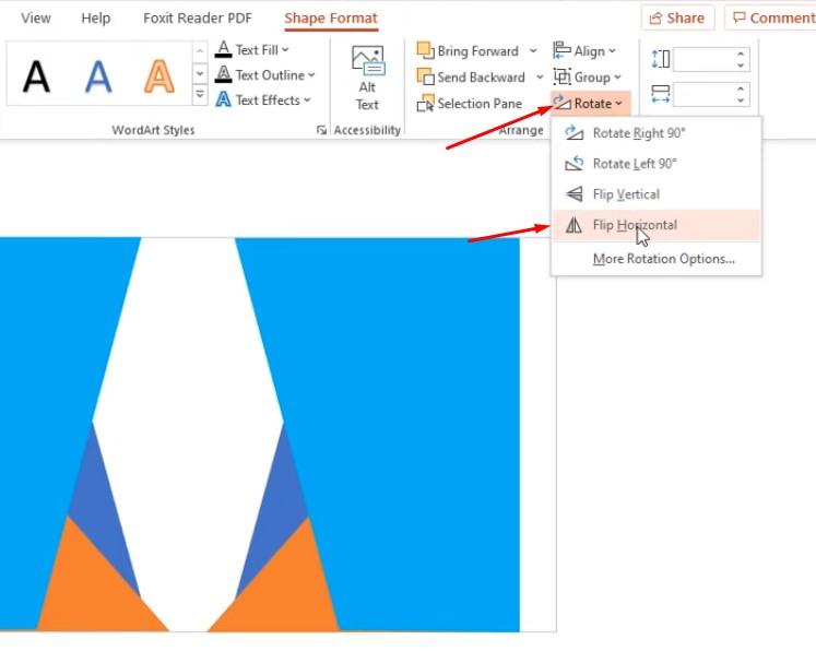 Tiếp tục chọn Rotate chọn Flip Horizontal để lật lại.