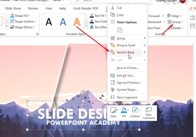 Các bạn Click chuột phải để chọn Send To Back để phần chữ xuống dưới hình khối nhé.