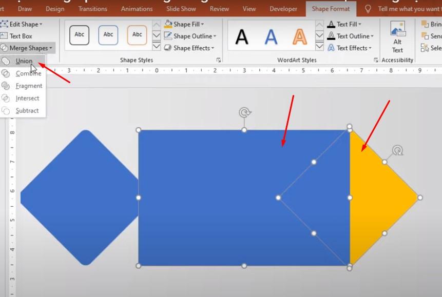 Khi vẽ xong vào Shape Format chọn Merge Shapes, chọn Union