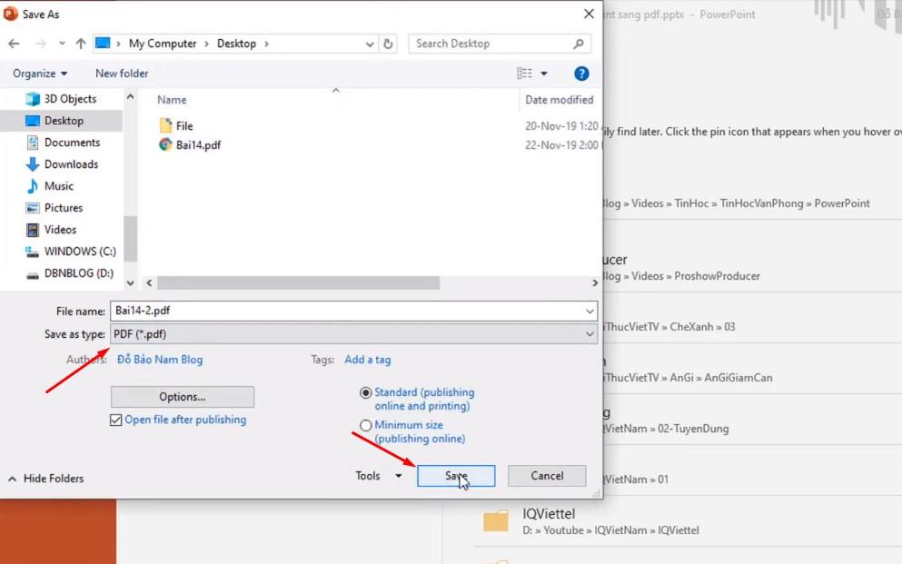 Như lưu ban đầu bạn đặt tên và chọn để ở dạng PDF.