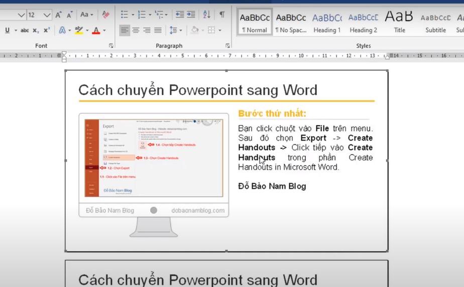 Cách chuyển powerpoint sang word