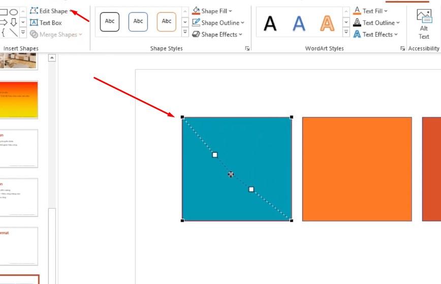 Chọn Edit points chọn vào hình và các dấu chấm bạn có thể thay đổi hình tùy ý được