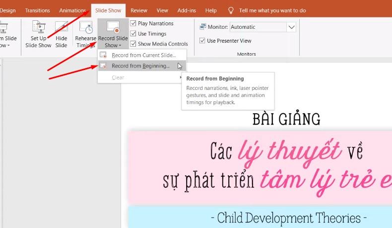 Mình chọn bắt đầu từ slide đầu tiên