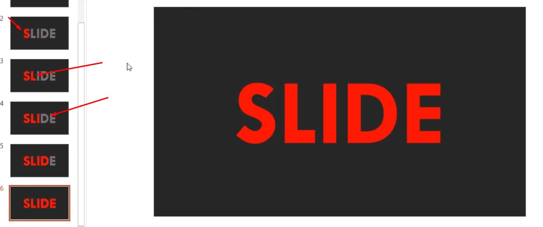 Mỗi slide bạn tăng thêm một chữ cái cho đến khi hết slide của bạn