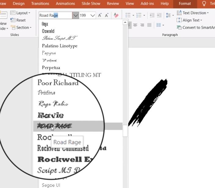 Tạo một Text Box và viết một dấu /