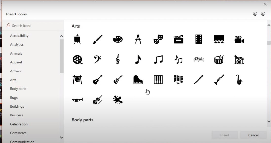 Các Icon có sẵn