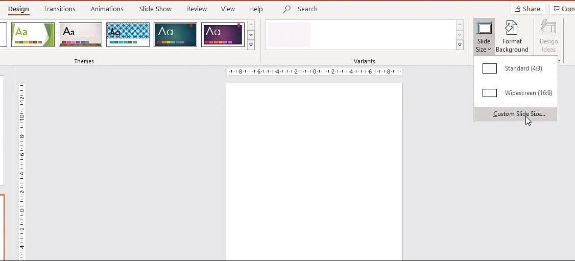 Bằng cách chọn Design chọn Slide Size chọn Custom Slide Size.