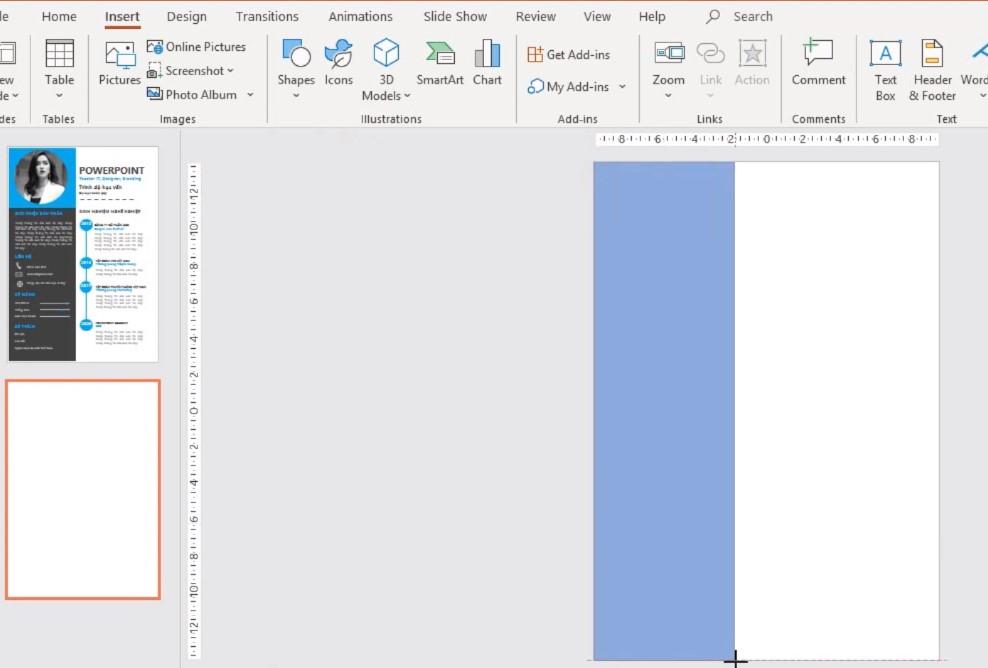 Vào Insert, chọn phần Shapes và vẽ 1 thanh dài.