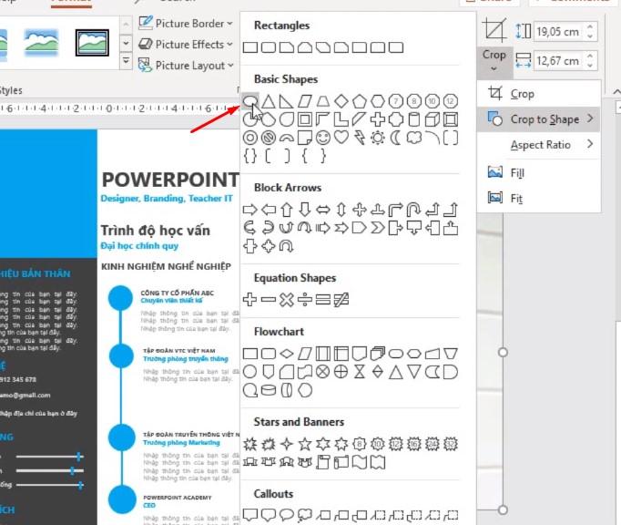 Chọn vào hình ảnh bấm vào Crop chọn Crop to Shape chọn hình tròn như hình.
