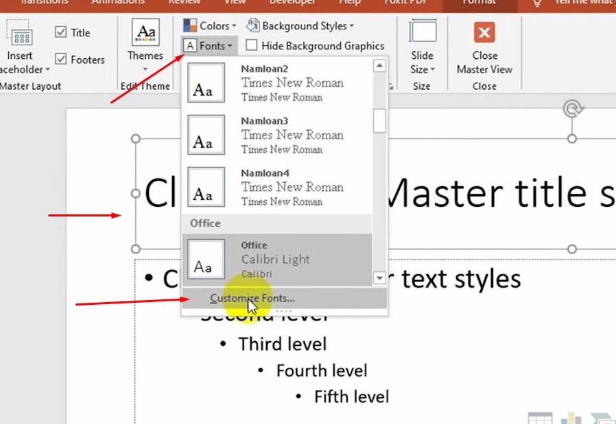 sau đó bấm vào Fonts và chọn vào Customize Fonts.