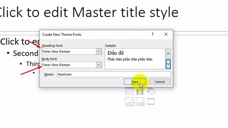 Bạn chọn một kiểu font chữ cho tiêu để và văn bản.