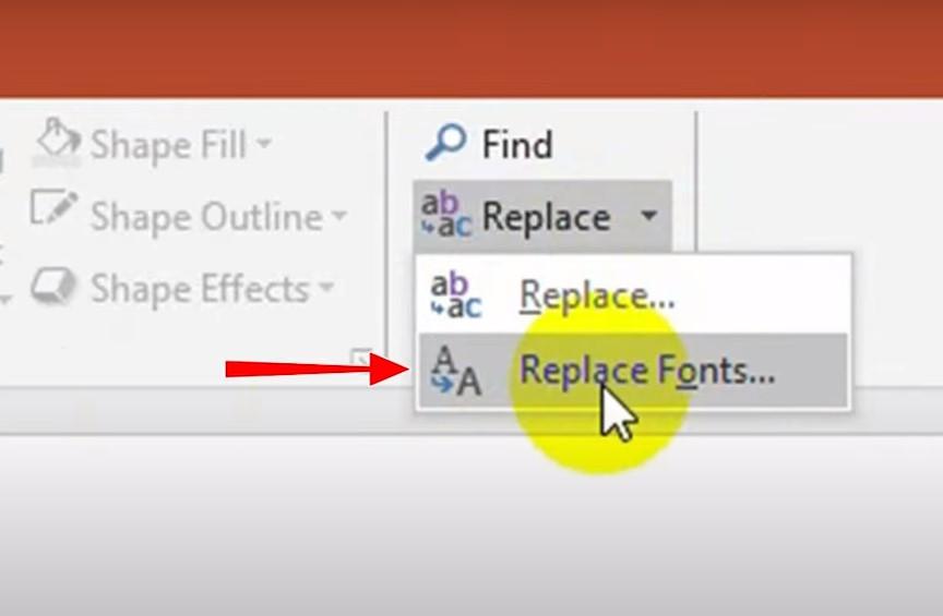 Bạn trỏ xuống chọn Replace Fonts.