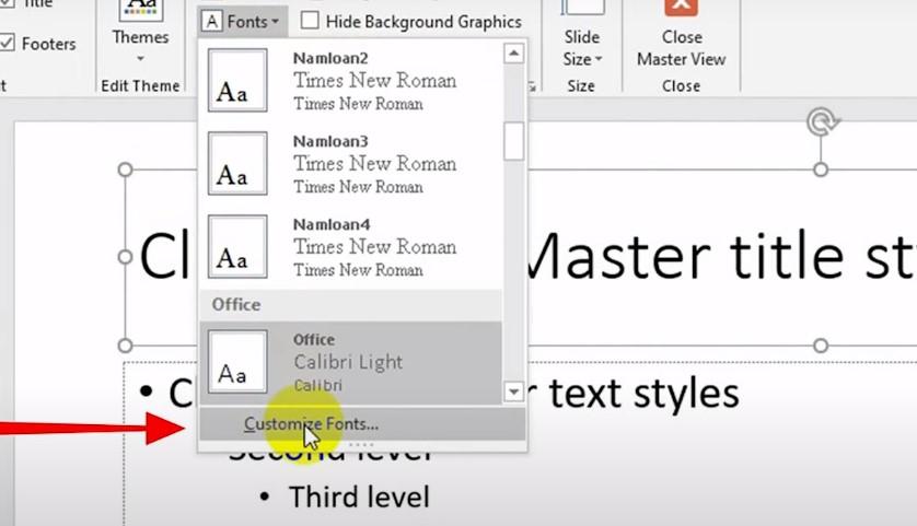mặc định font chữ trong powerpoint