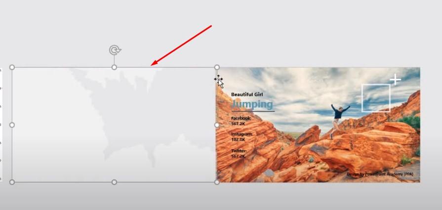 Tiếp theo bạn dùng Slide 1 bạn kéo khung hình chữ theo vị trí