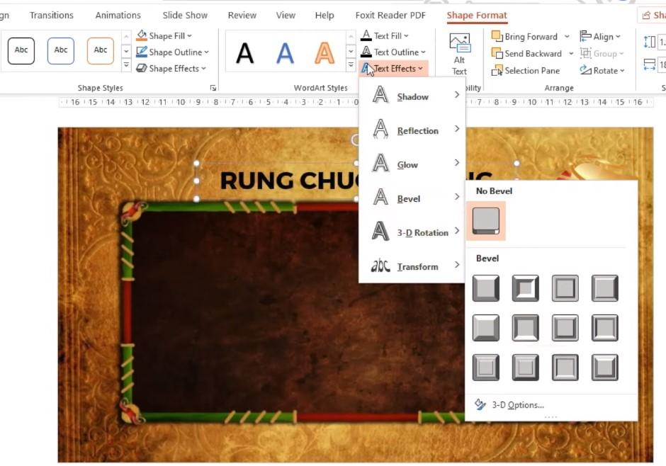 Chọn phần Text Effects, chọn một hiệu ứng