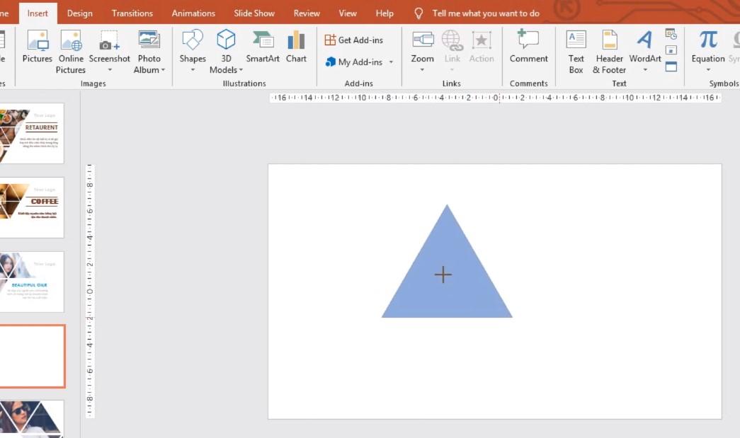 Bạn nhớ giữ phím Shift để vẽ hình tam giác nhé.