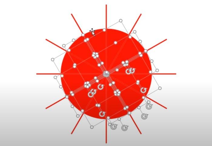 Bạn quét toàn bộ hình tròn và đường thẳng chọn Shape Format chọn Merge Shapes và chọn phần Fragment