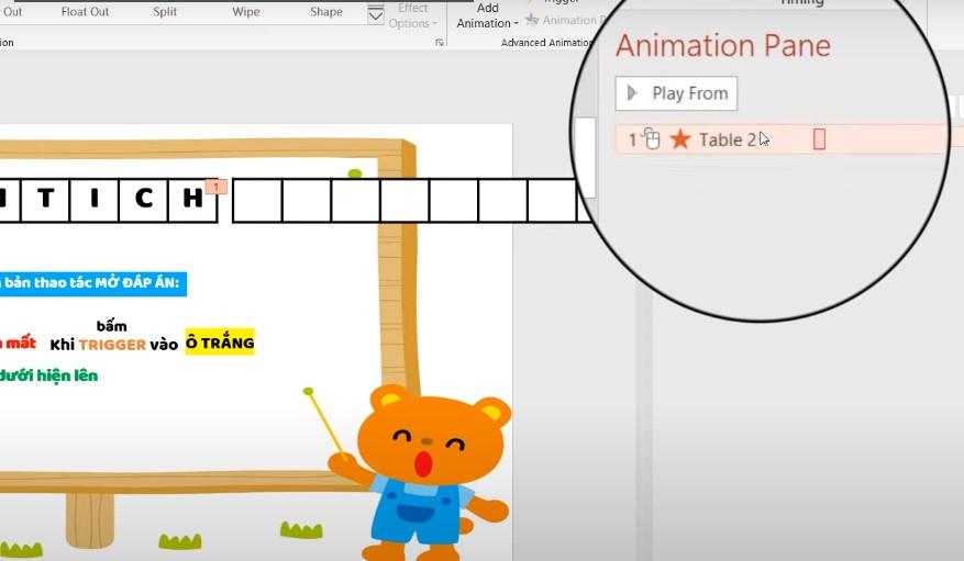 Chọn vào hiệu ứng biến mất vừa tạo trong Animations Pane