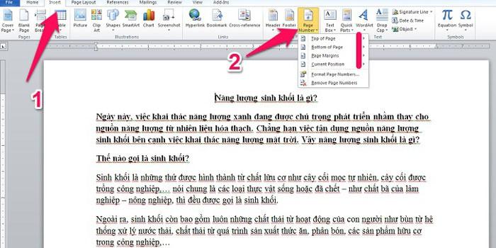 Hướng dẫn cách đánh số trang từ trang thứ 2 trong word 2010