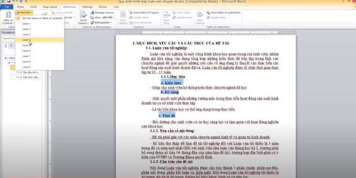 Hướng dẫn chi tiết cách tạo mục lục Level 4 trong Word 2010