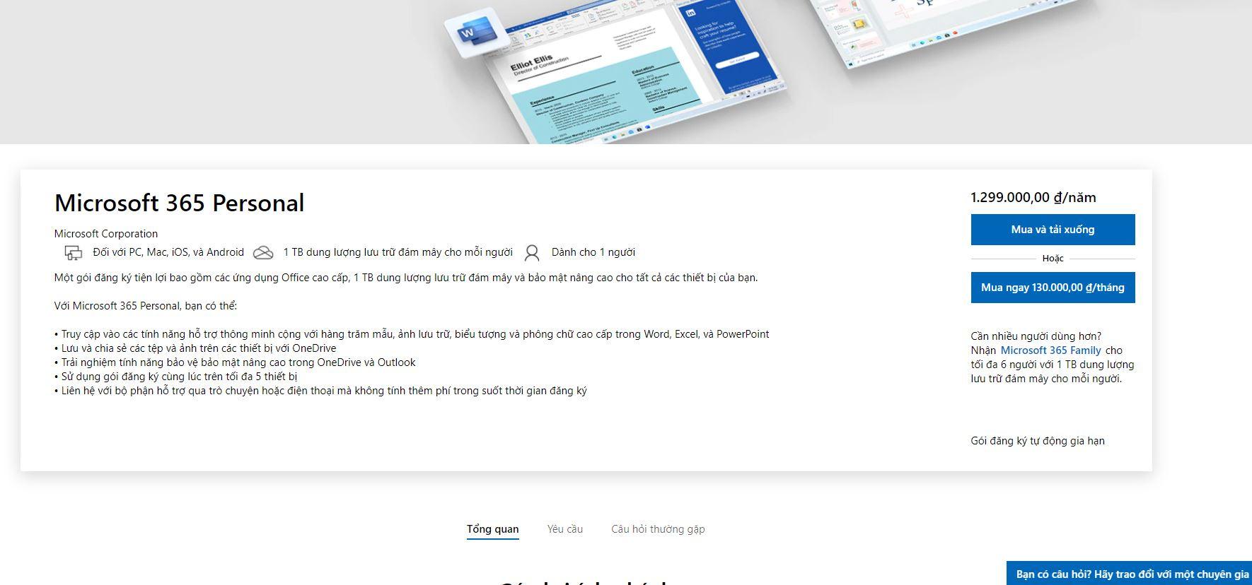 Ứng dụng cao cấp đi kèm của microsoft Office 365